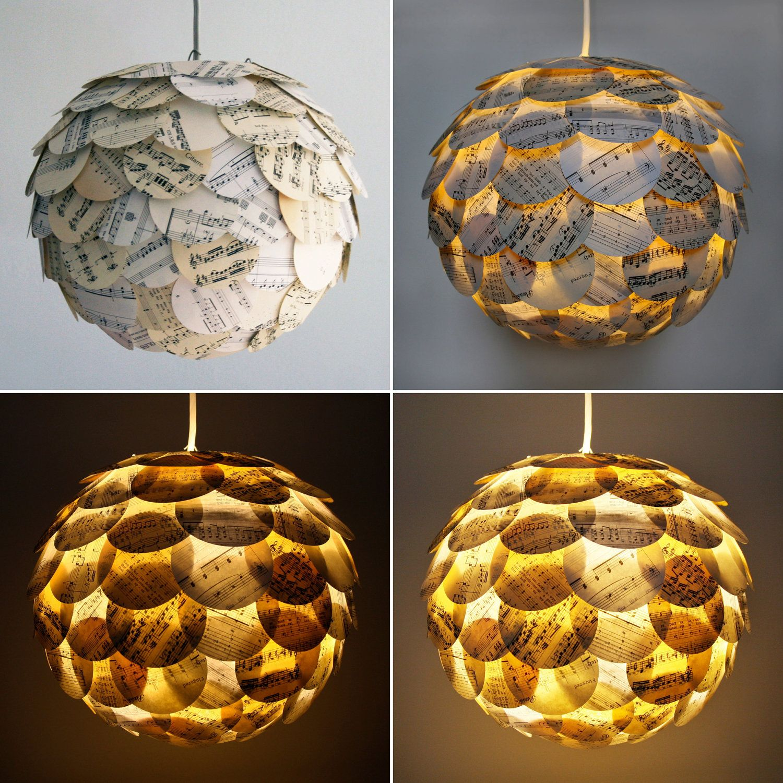 The Manhasset Sheet Music Pendant Light Hanging Paper Artichoke Lantern Shade Only Decorative Lamp Shades Paper Lampshade Lamp Shades