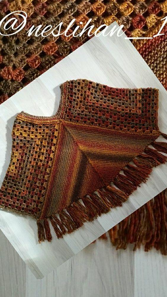 PONCHO COMBINACIÓN: CROCHET Y DOS AGUJAS. | A shawl & scarf handmade ...