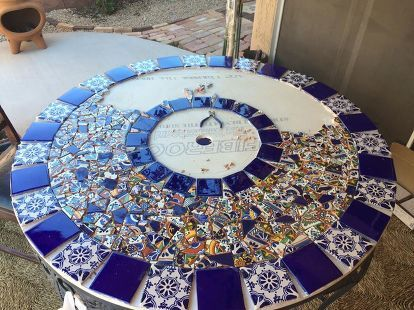 Mosaic Tile Patio Table #resinpatiofurniture