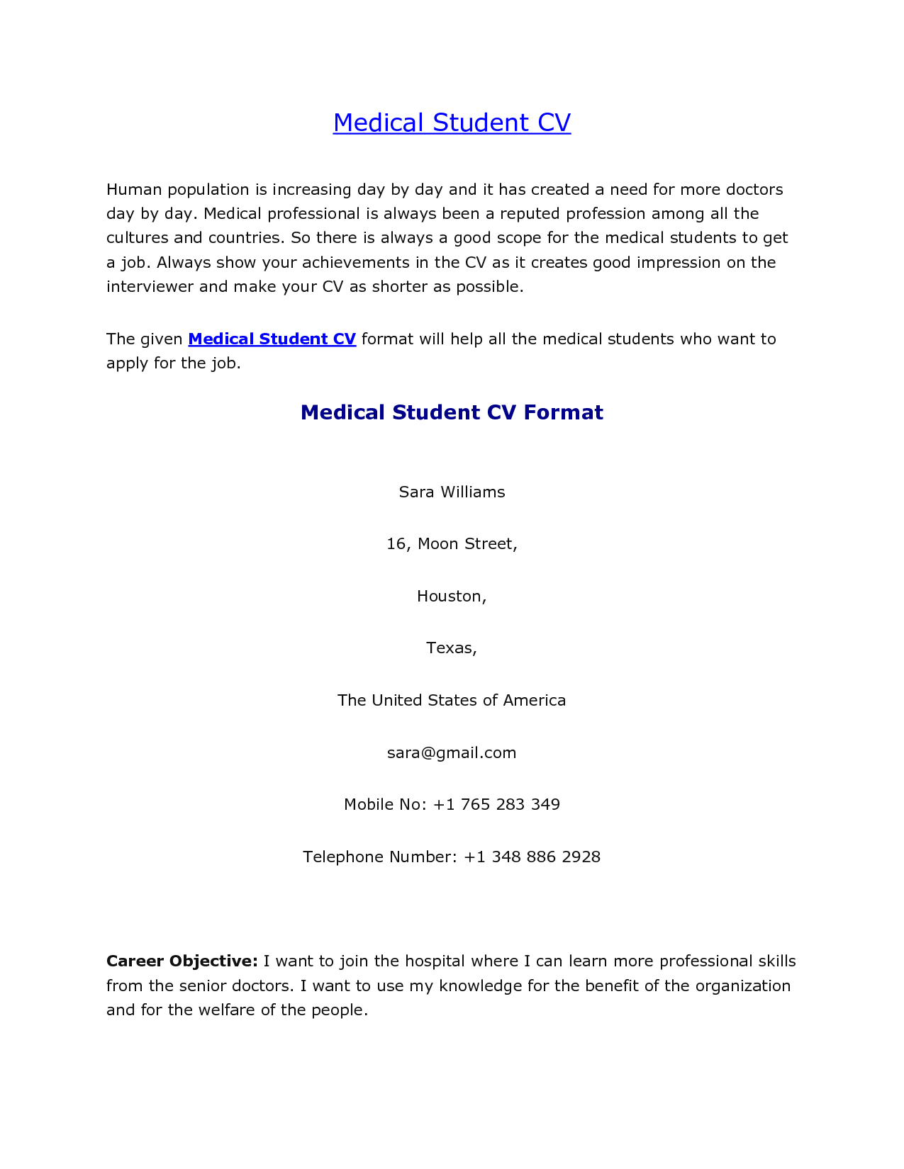 Medical Student Cv Sample  Resume Template    Medical