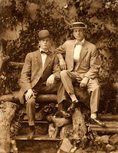 antique-erotic: gallimauphry: Real photograph postcard of two identified  young men in suits and bow-ties, one wearing a bowler and one wit.