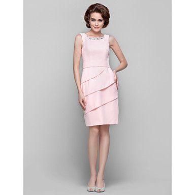 Kleid+Übergröße+/+Zierlich+Eng+anliegend+Schmuck+Knie-Länge+Chiffon+mit+Perlstickerei+/+Kristall+Verzierung+/+Rüschen+–+EUR+€+70.55