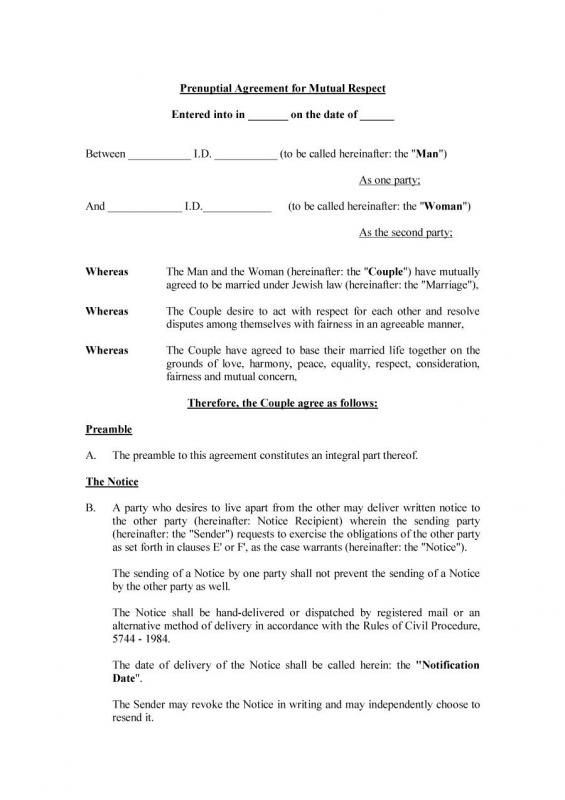 Prenuptial Agreement Templates template Pinterest Template and