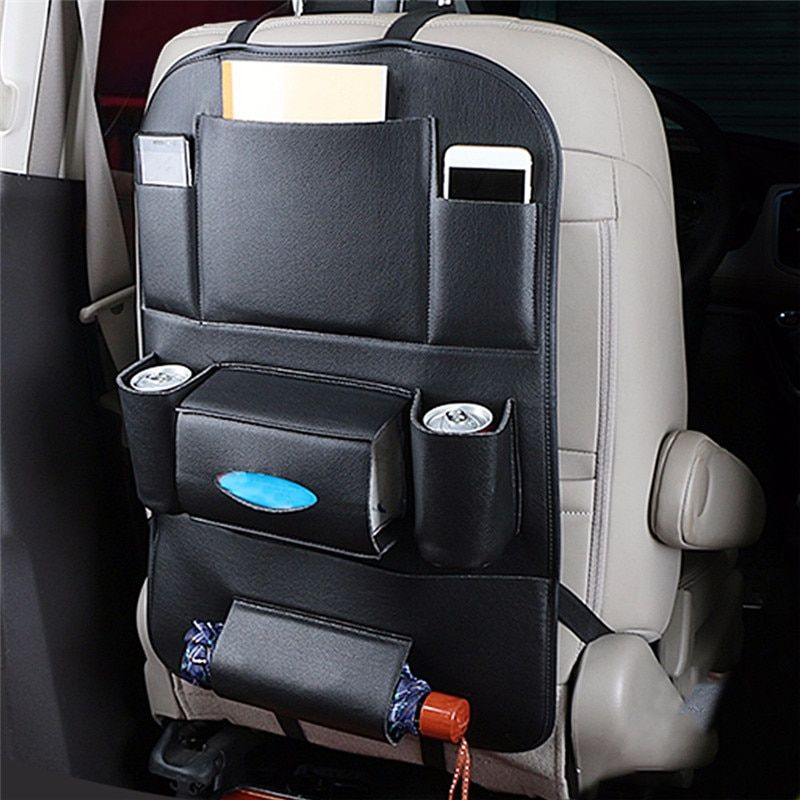 Leather Car Seat Back Organiser Storage Bag Tray Foldable Table Cup Holder UK