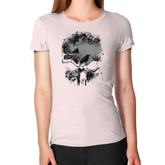 Skull, Trees and Crow Wicked Grunge Design Women's T-Shirt