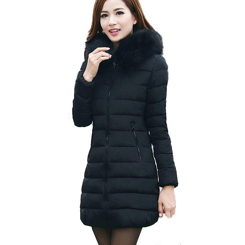 New Fake Fur Collar Parka Down Cotton Jacket 2017 Winter Jacket ...