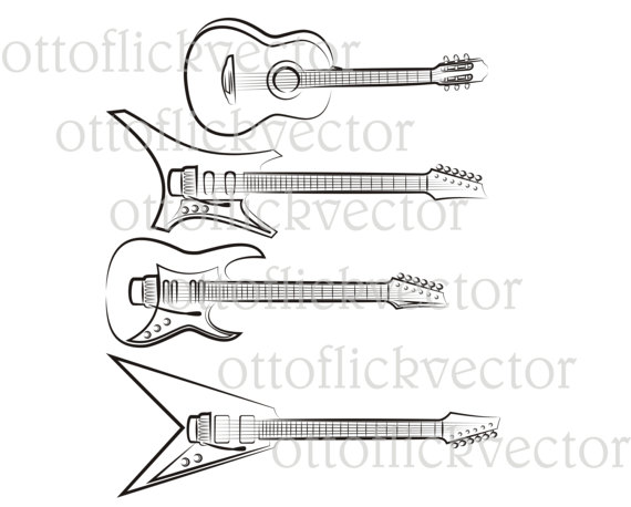 Guitar Silhouettes Clipart Vector File Electric Acoustic Rock