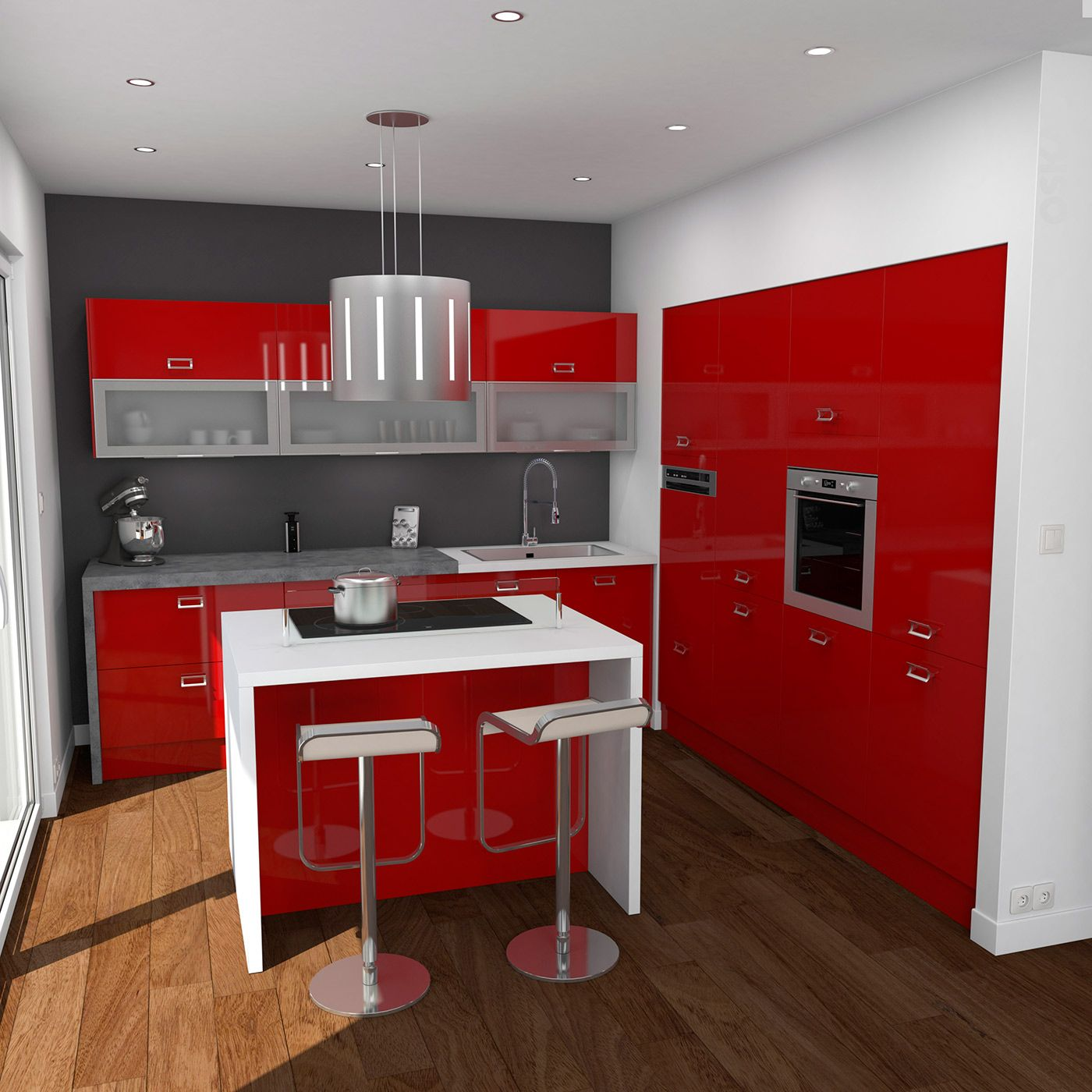 Cuisine rouge moderne finition brillante implantation en for Modele cuisine encastrable