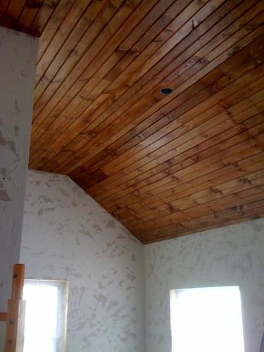 Ceiling Done Lowres In 2020 Wood Plank Ceiling Wood Ceilings Diy Wood Wall