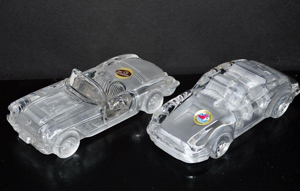 Hofbauer 2 Crystal Cars Paperweight 1959 Corvette & Porsche 911 Germany #Hofbauer #PorscheChevy