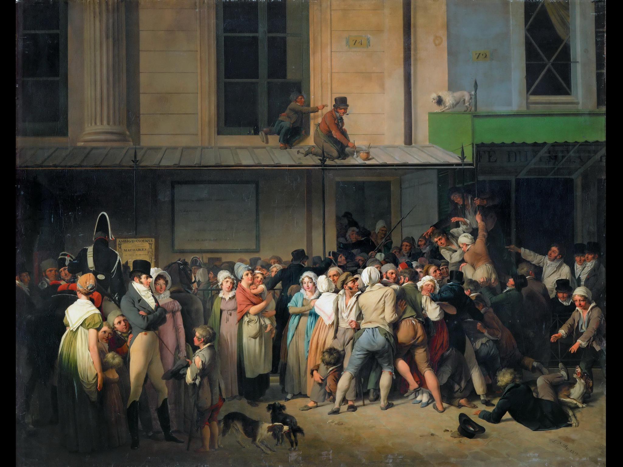 Louis-Léopold Boilly (1761-1845), Entrata del Teatro dell'Ambigu-Comique a una rappresentazione gratuita, 1819, (olio su tela). Parigi Louvre.