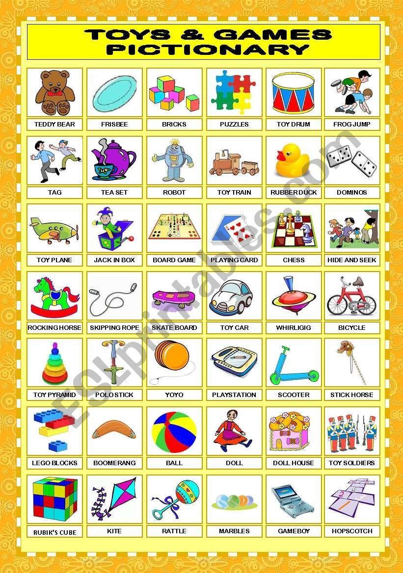 TOYS & GAMES PICTIONARY - ESL worksheet by veenee in 2020 ...