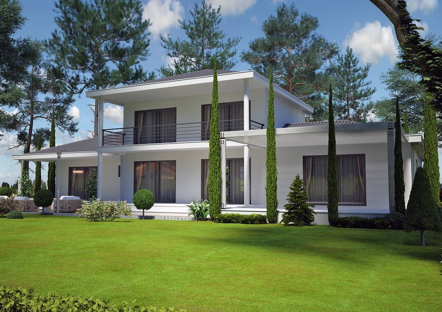 Villa contemporaine 150 m2 etage mod le pinede salon for Plan facade maison moderne