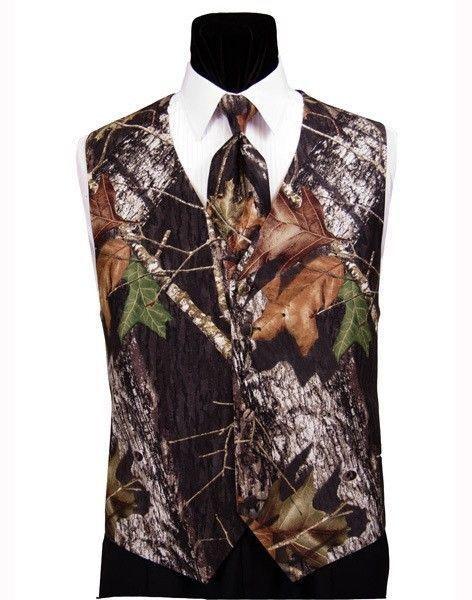 NEW Mens Mossy Oak Camo Fullback Tuxedo Vest//Long Tie//FREE Hankie Camouflage