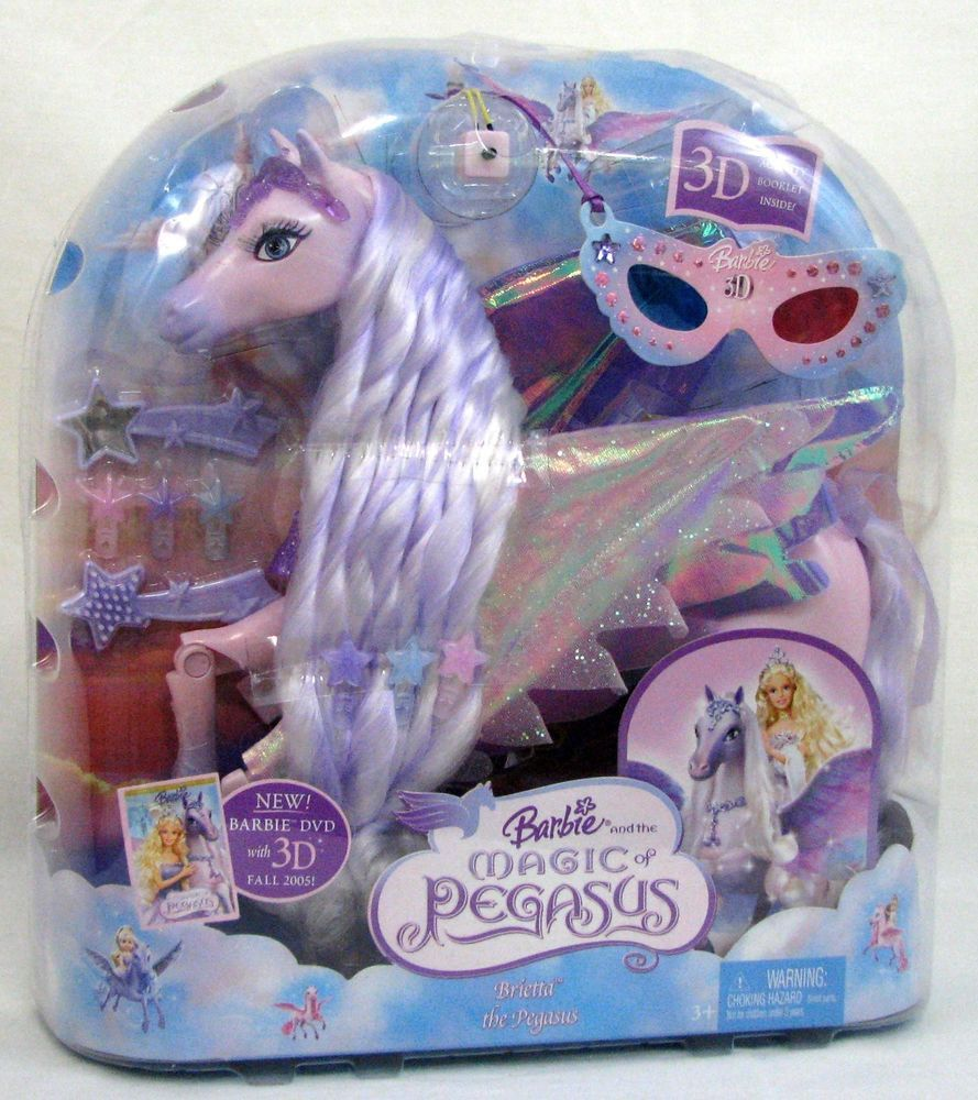 Brietta The Pegasus Barbie Magic Pink Horse Set Rare New With