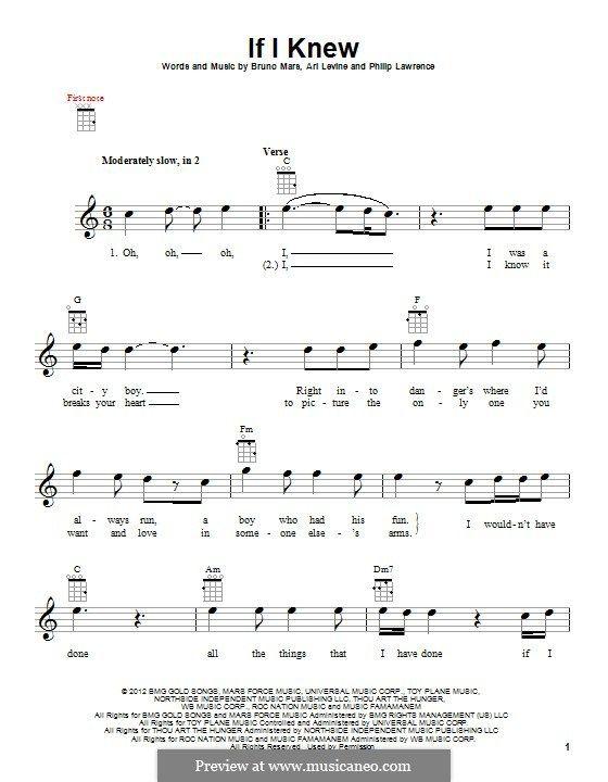 If I Knew: For ukulele by Ari Levine, Bruno Mars, Philip Lawrence