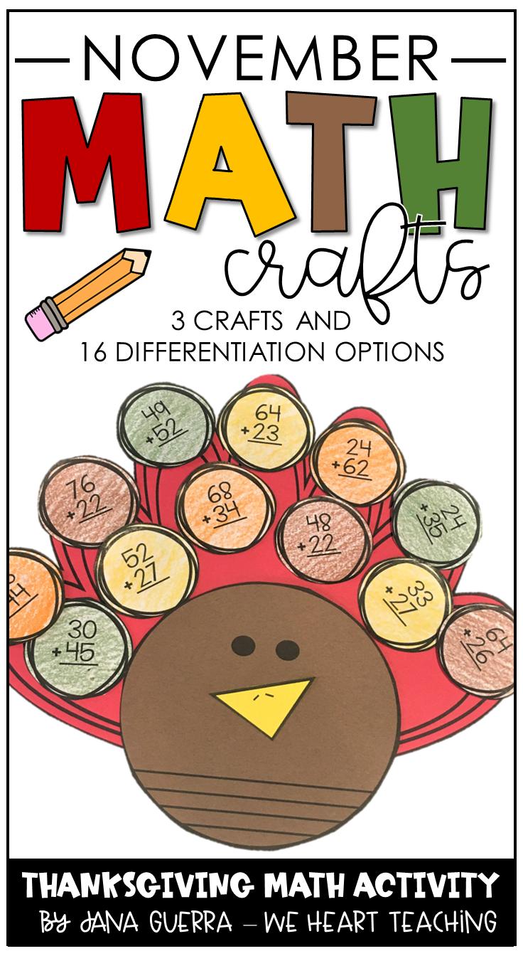 November Math Crafts Thanksgiving Math Activities Math Crafts November Math [ 1344 x 736 Pixel ]