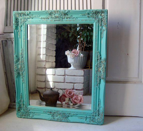 Best Aqua Vintage Ornate Mirror Beach Cottage Aqua Blue Painted Detailed Mirror Shabby Chic Mirror 400 x 300