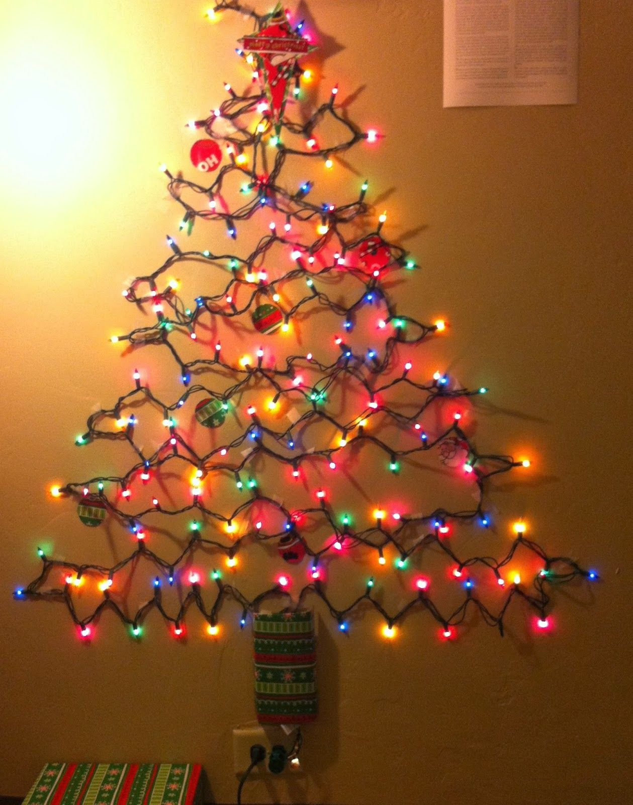 Photo Christmas Tree Made Of Lights On Wall Images Christmas Tree Made Of Lights Wall Christmas Tree Alternative Christmas Tree