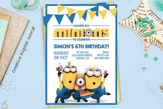 minions birthday invitation printable kids minion invite