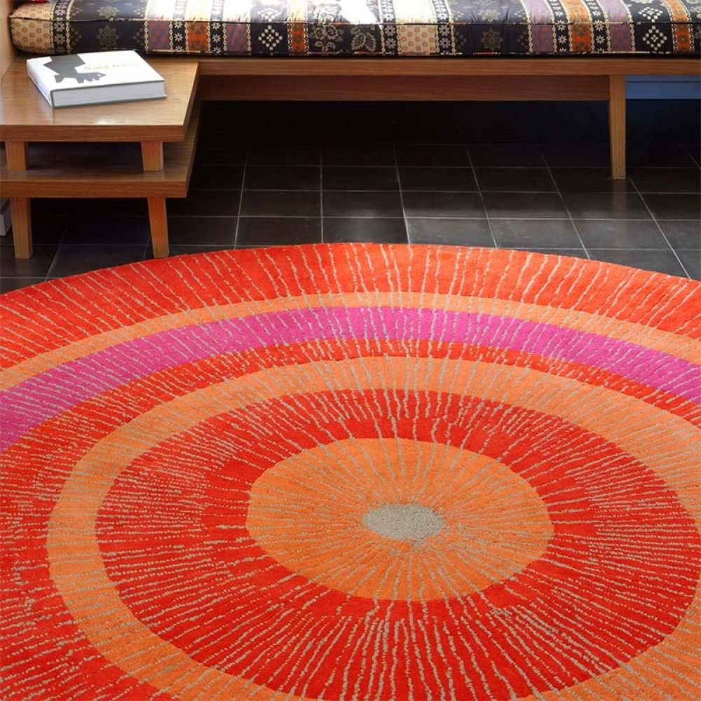 Beautiful Orange Round Outdoor Rug