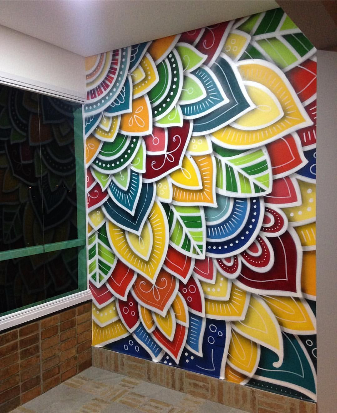 By Danroots Amazing Work With Spray Paints Mandala Wall Art Mural Wall Art Wall Paint Designs