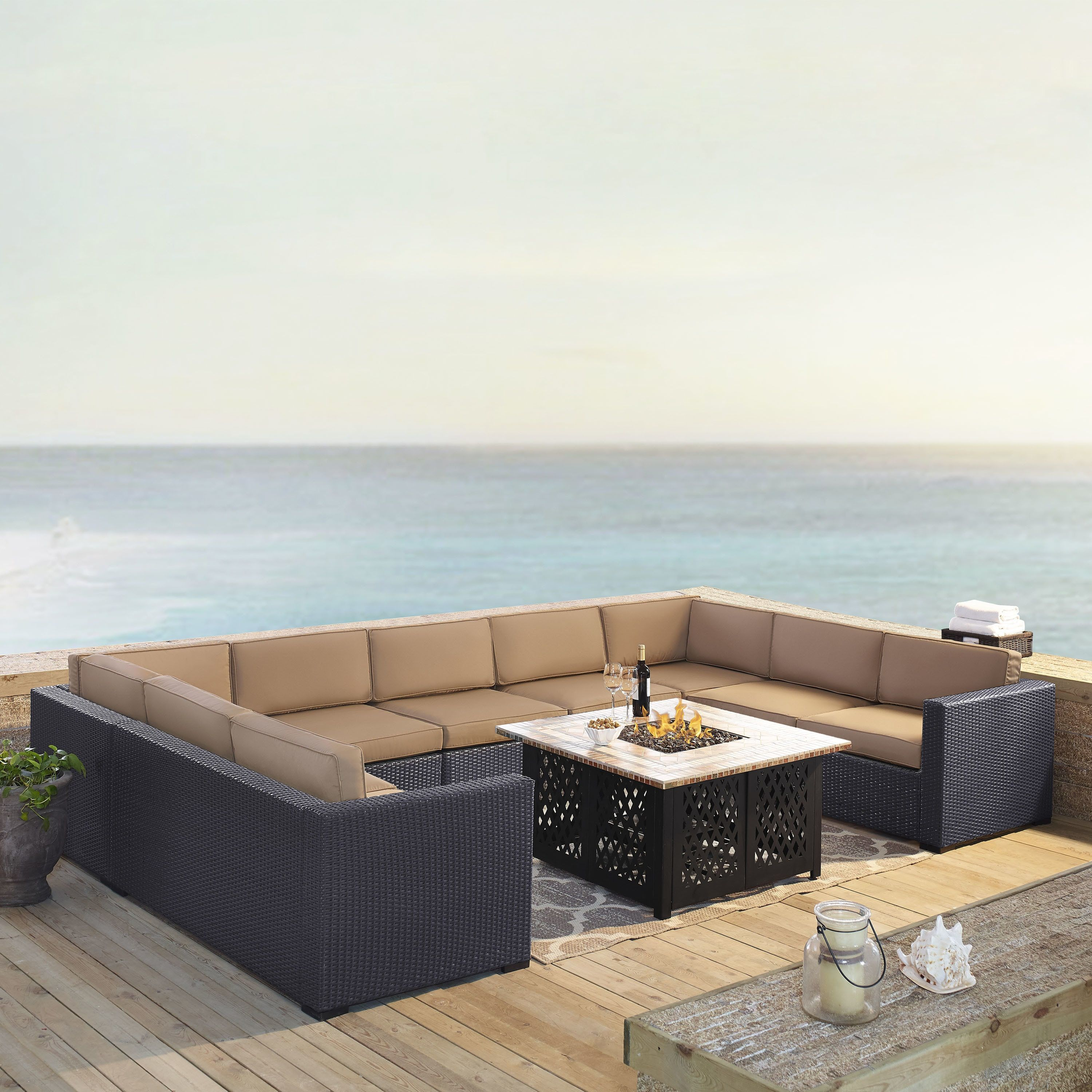 Crosley Furniture Biscayne Mist Wicker/ 6-piece Seating Set With 4 Loveseats, Armless Chair, and Tucson Fire Pit