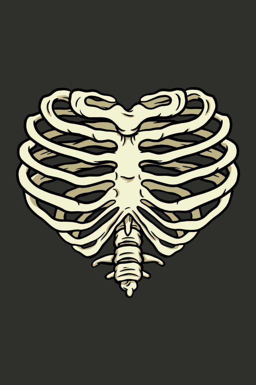 Heart Rib Cage Design Graphic Design Art Rib Cage Drawing Bone Drawing Line Art Design