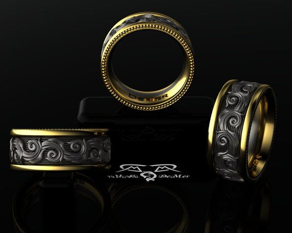Intricate 14kt European Yellow Gold, Black Silver Wedding Band Mens or Womens Ring. Luxury Weight Comfort Fit. on Etsy, $2,779.23 CAD