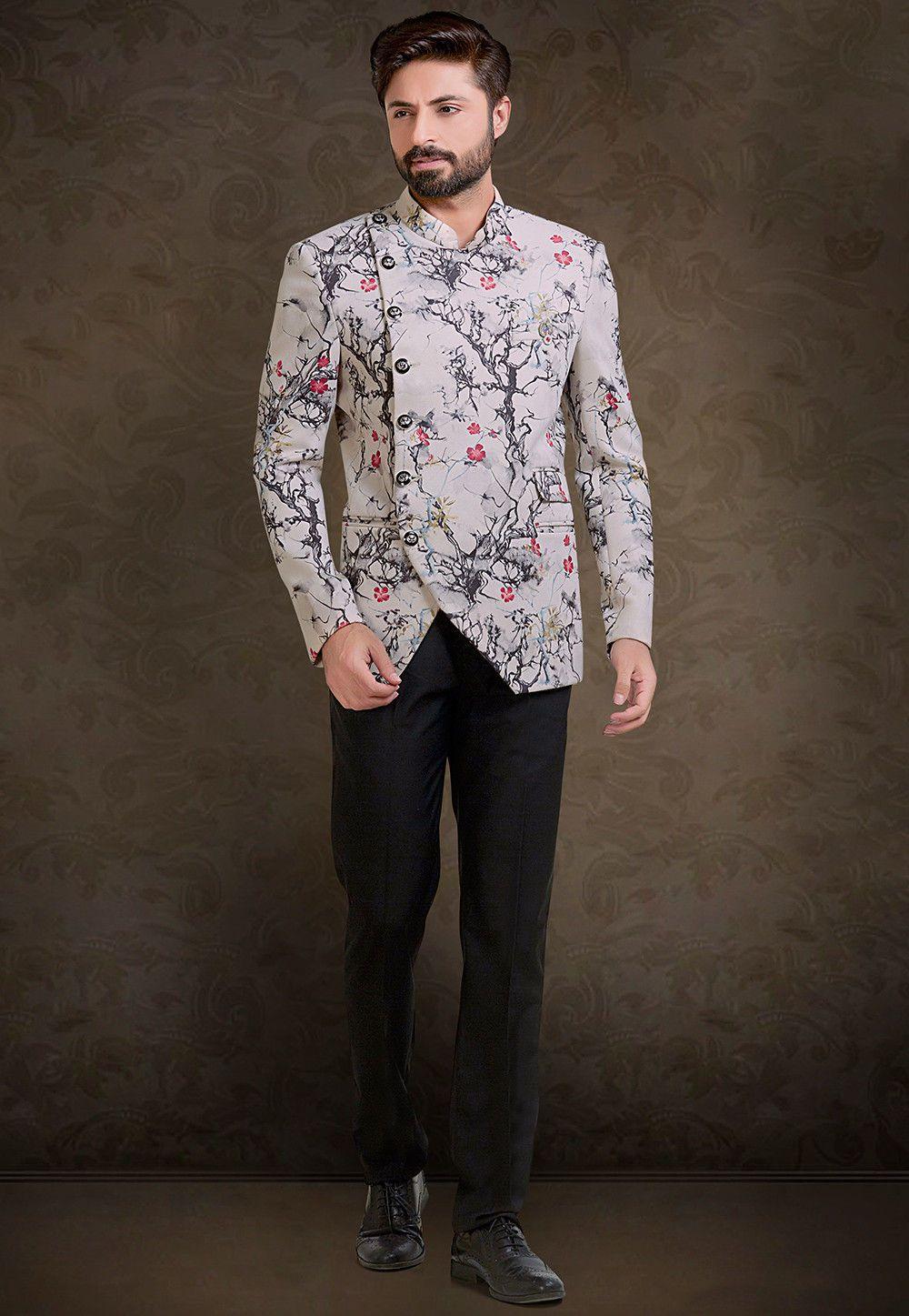 Velvet Jodhpuri Suit In Light Fawn This Readymade Attire