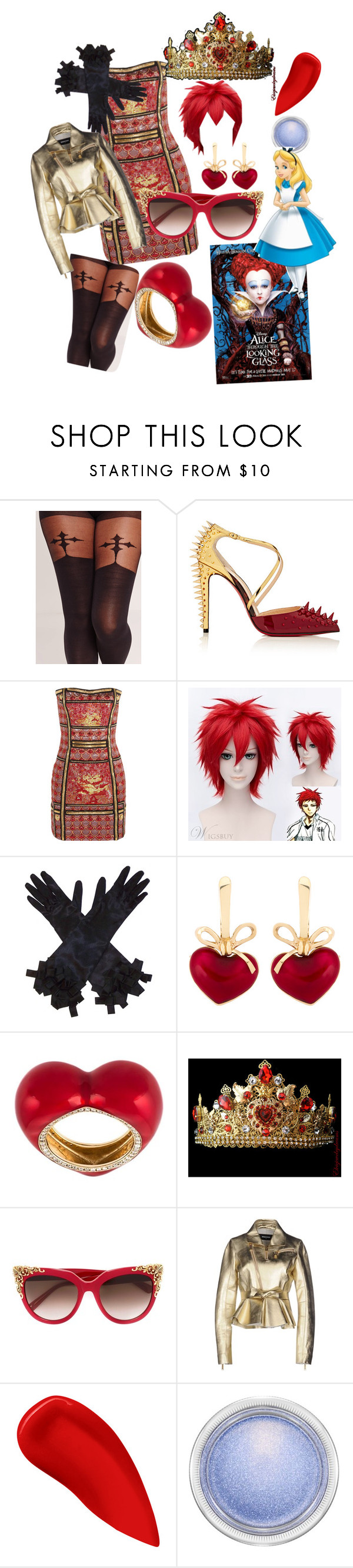 """""""Off With Her Head!"""" by ahapplet ❤ liked on Polyvore featuring Missguided, Christian Louboutin, Balmain, KDIA, Alison Lou, MCM, Dsquared2, Lipstick Queen, MAC Cosmetics and contestentry"""