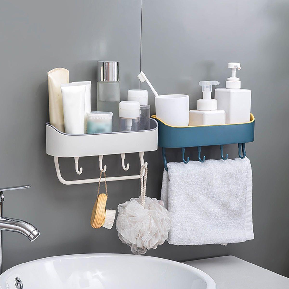 Us 11 99 25 Off No Drilling Shower Caddy With Self Adhesive Glue Hooks Storage Basket Bathroom Shelf Rack Wall Mounted Rack For Kitchen Bathroom Housekeepi Shower Shelves Plastic Storage Shelves Bathroom Shelves [ jpg ]