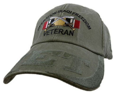 5a00a6bc1e826 Operation Iraqi Freedom (OIF) Veteran Embroidered Military Baseball Cap  Features  Embroidered lettering and badge OD Green cotton Adjustable