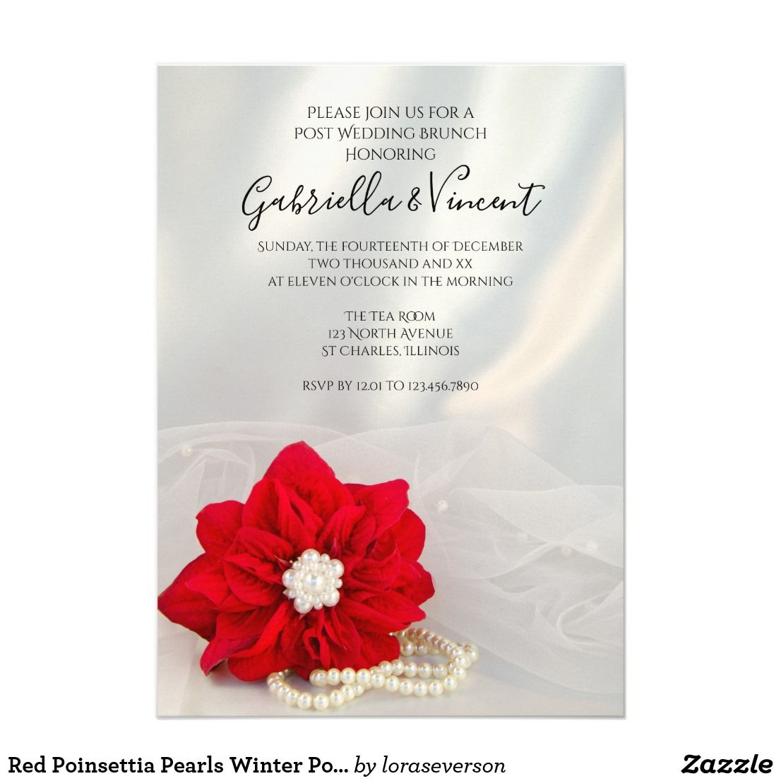 Red Poinsettia Pearls Winter Post Wedding Brunch Invitation in 2018 ...