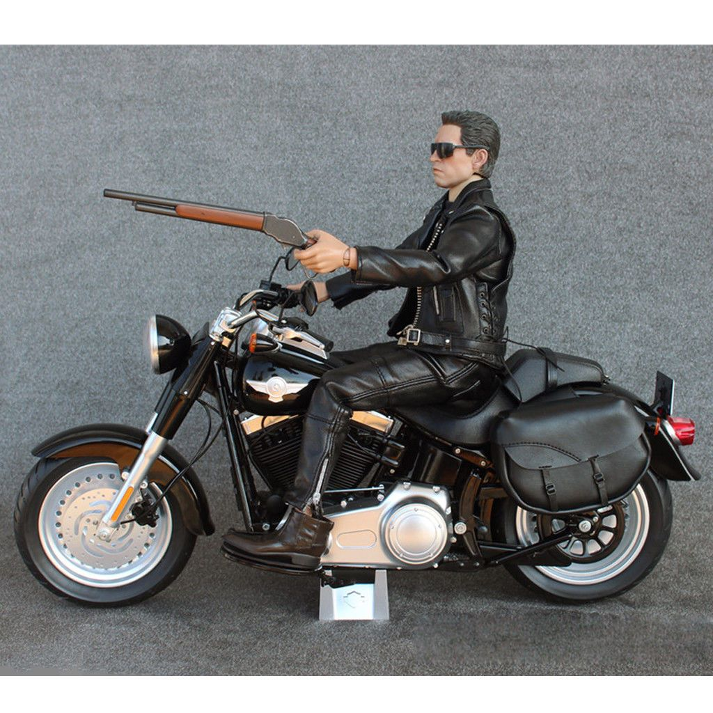 1//6 12/'/' Biker Action Figure Vehicle Black Motorcycle for Hot Toys Sideshow