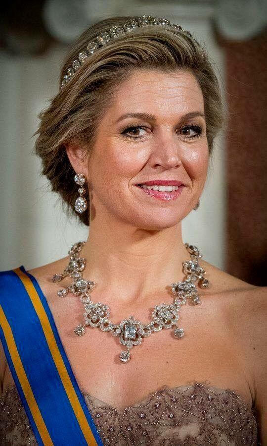 Queen Maxima wearing the Diamond Bandeau tiara and the House Diamond necklace last seen worn by Queen Juliana