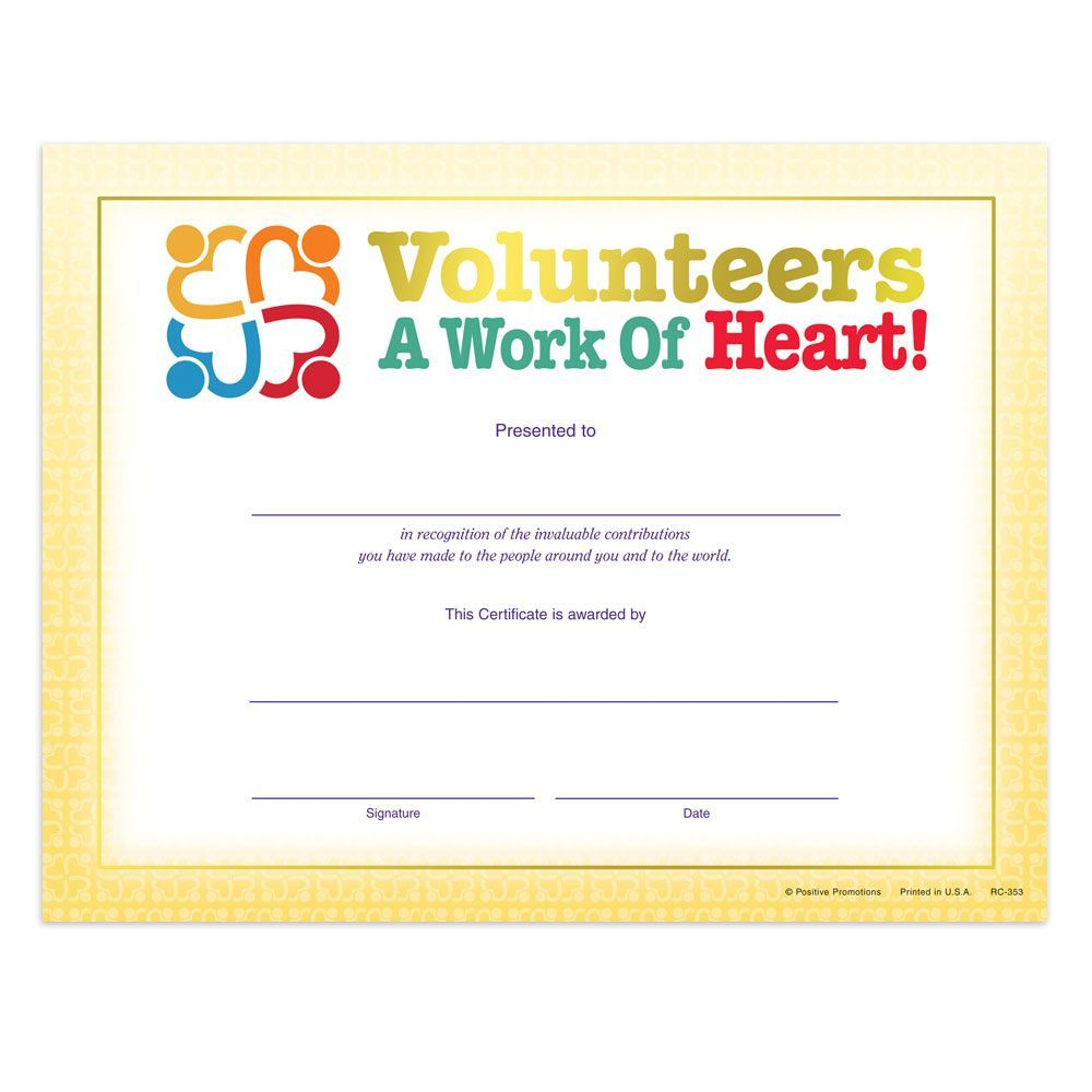 Volunteers a work of heart gold foil stamped recognition gold foil stamped recognition certificate positive promotions yadclub Choice Image