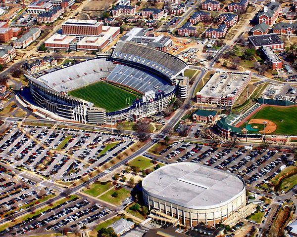 Aerial View Of Jordan Hare Stadium Auburn Alabama Auburn