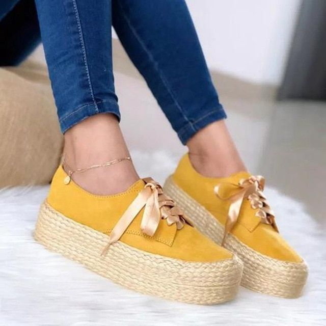 Women canvas loafers lace up round toe casual flats ladies espadrille shoes thick bottom flats shoes footwear is part of Espadrille shoes, Fashion shoes flats, Flat shoes women, Casual shoes women, Trending shoes, Moccasins women - Women Canvas Loafers Lace Up Round Toe Casual Flats Ladies Espadrille Shoes Thick Bottom Flats Shoes Footwear