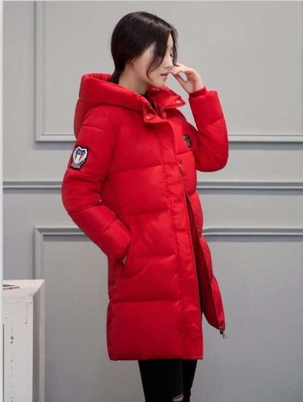 07db3fb39 White Winter Coat Women Hot Sale Long Parka Fashion Students Slim ...