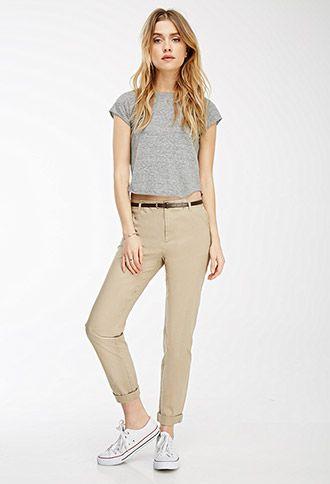 Belted Chino Pants | Chino pants women, White pants women, Womens