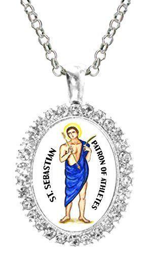 St Sebastian Patron of Athletes Cz Crystal Silver Necklace Pendant