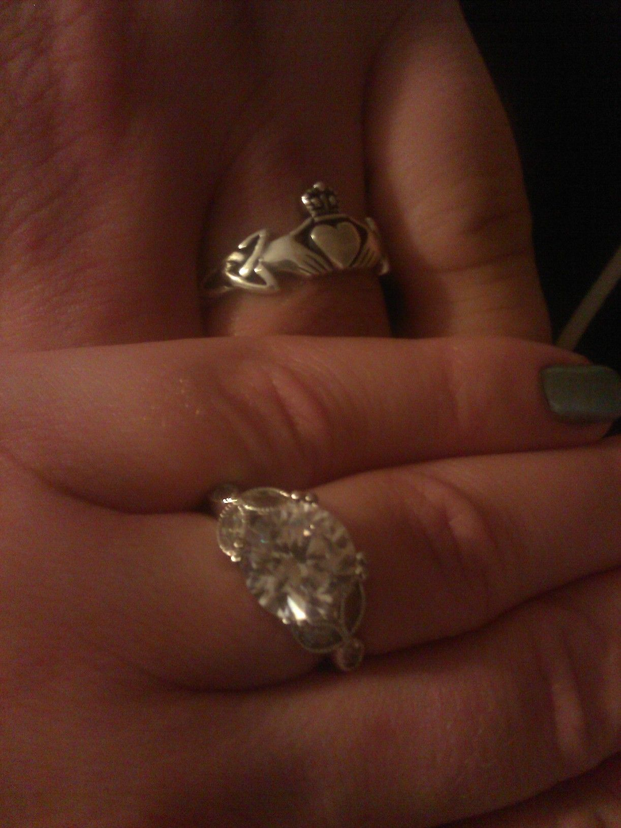 Our engagement rings!! <3
