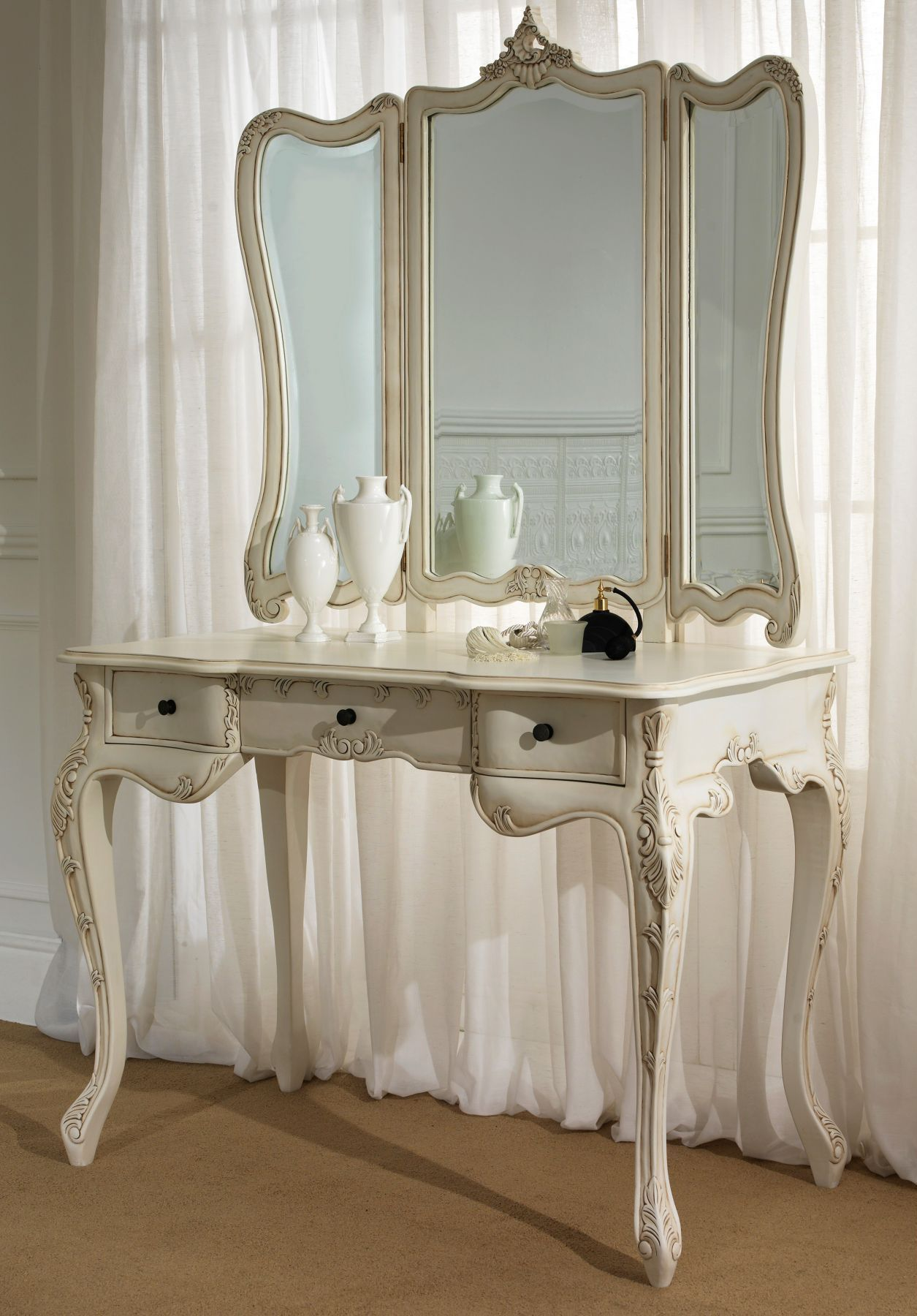 Contemporary White Antique Vanity Table Design With Big Mirror And White  Curtain Cover The Glass Window