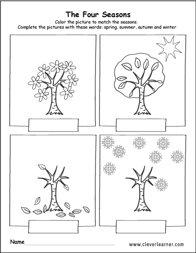 Spring, summer, fall and winter free worksheets for ...