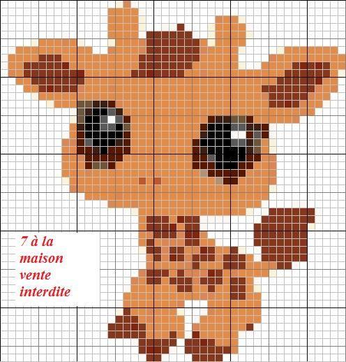 Grille gratuite le petshop girafe en petit mod le le - Maison point de croix ...