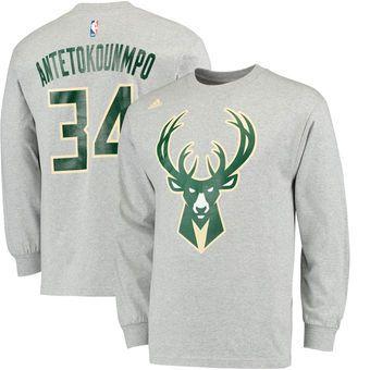 size 40 c30a9 cd38d Men's adidas Giannis Antetokounmpo Gray Milwaukee Bucks Name ...