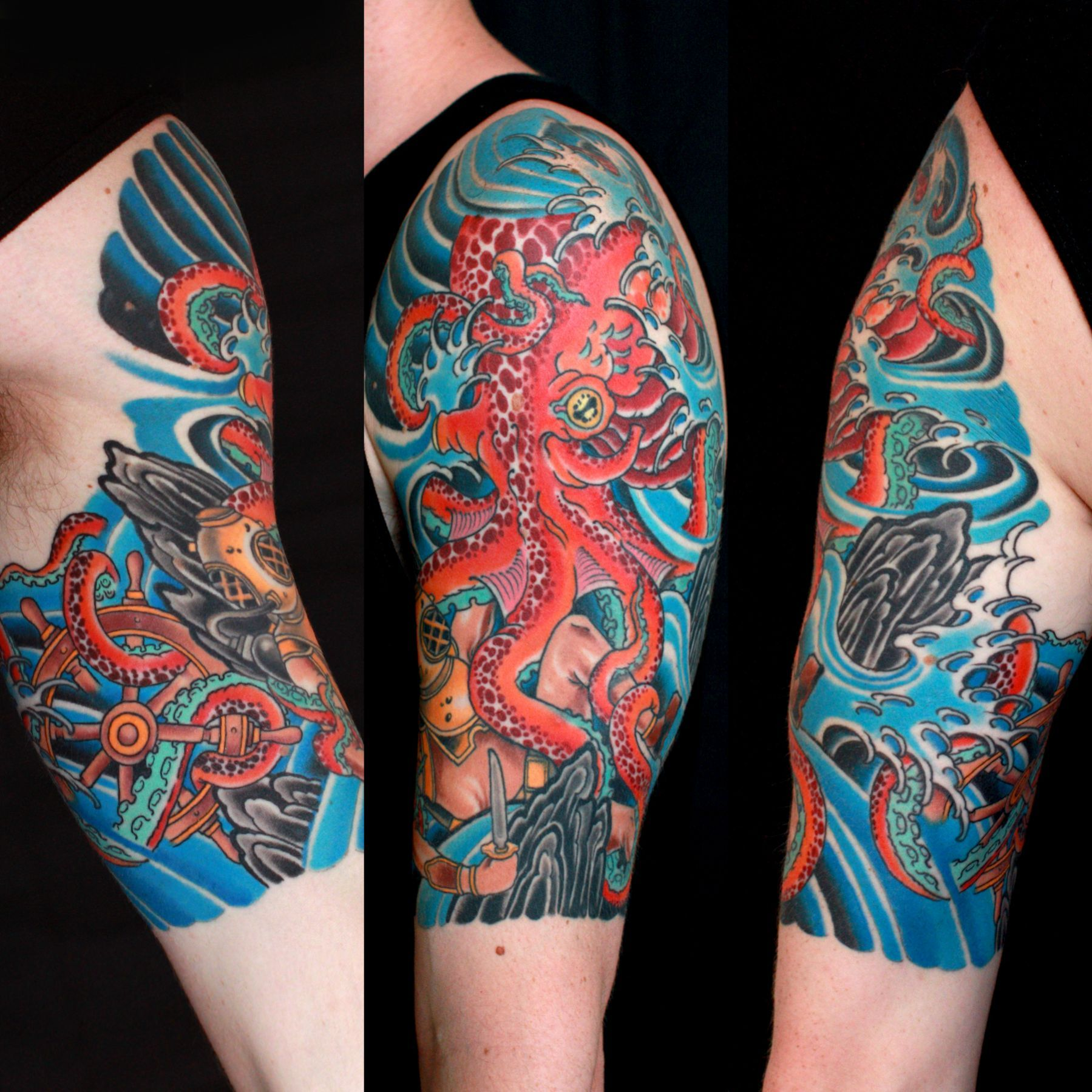 Octopous Tattoo Traditional: Traditional Octopus And Diver Half Sleeve By Braden