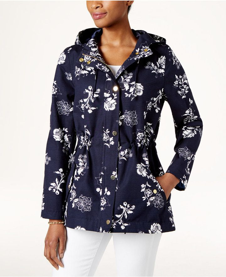 374695f8 Charter Club Petite Floral-Print Hooded Utility Jacket, Created for Macy's