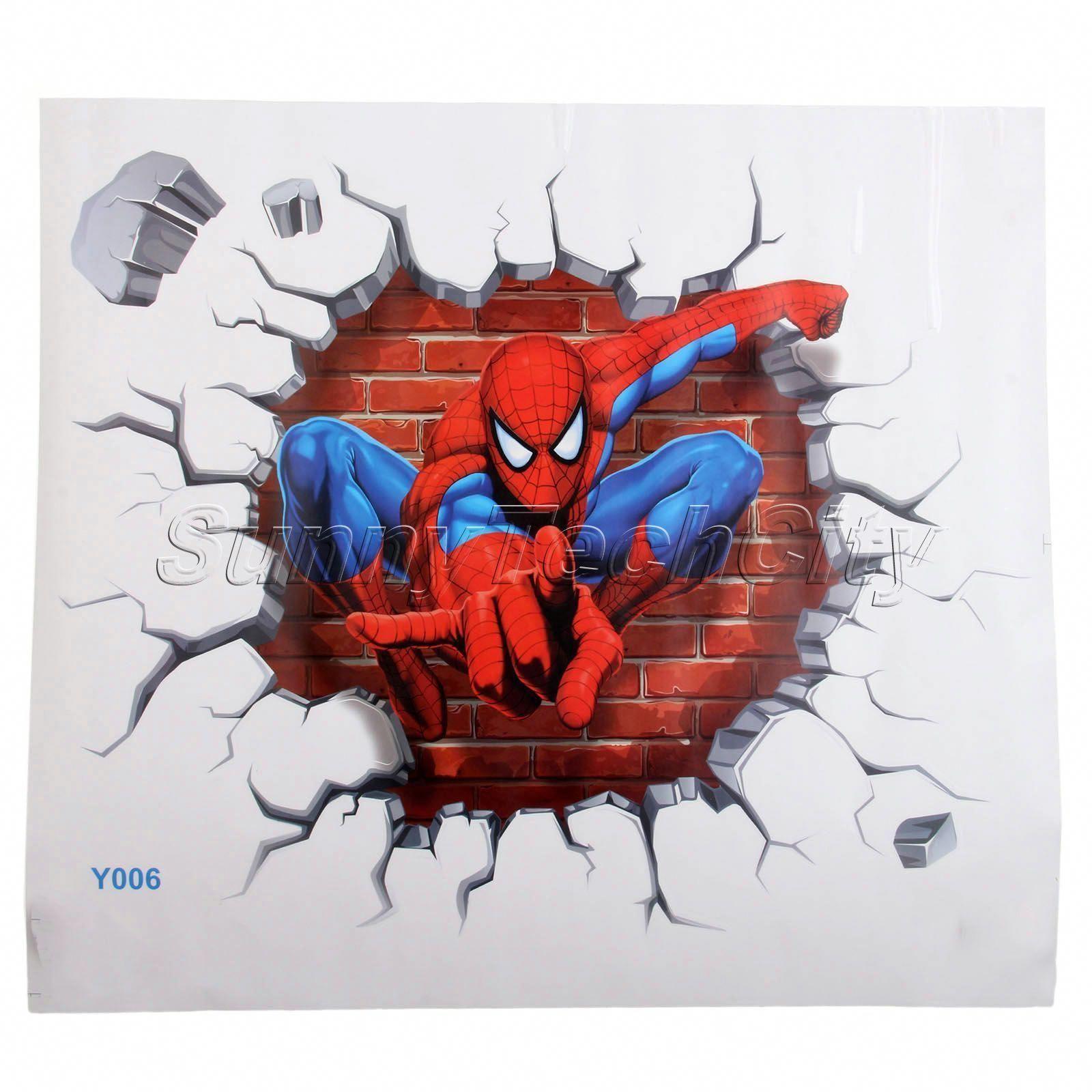 $3 22 3D Spiderman Kids Room Decor Wall Stickers Cool Boys